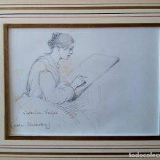 Arte: RETRATO DE VICTORINE FARJON (MADAME TOURNATORY). DIBUJO A LÁPIZ SIGLO XIX. Lote 170565352
