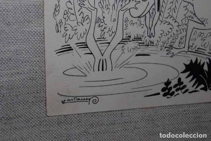 Arte: DIBUJO A TINTA - VALENTI CASTANYS - RANAS EN UNA CHARCA - ILUSTRACIÓN PARA LIBRO - AÑOS 40 - Foto 5 - 171064465