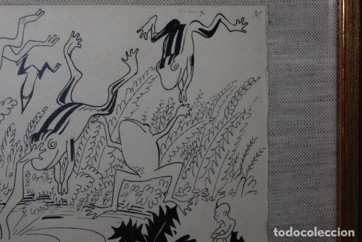 Arte: DIBUJO A TINTA - VALENTI CASTANYS - RANAS EN UNA CHARCA - ILUSTRACIÓN PARA LIBRO - AÑOS 40 - Foto 7 - 171064465