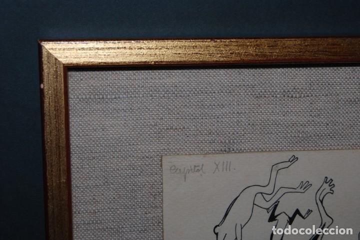 Arte: DIBUJO A TINTA - VALENTI CASTANYS - RANAS EN UNA CHARCA - ILUSTRACIÓN PARA LIBRO - AÑOS 40 - Foto 8 - 171064465