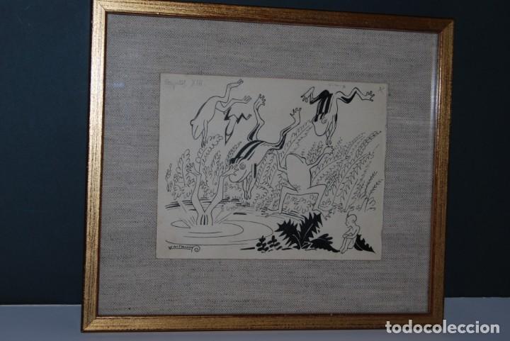 Arte: DIBUJO A TINTA - VALENTI CASTANYS - RANAS EN UNA CHARCA - ILUSTRACIÓN PARA LIBRO - AÑOS 40 - Foto 9 - 171064465