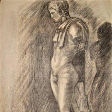 Arte: ANTIGUO DESNUDO ESCULTURA MASCULINA AL CARBONCILLO.. Lote 171265022
