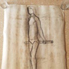 Arte: ARTE. ESCUELA CATALANA DIBUJO AL CARBÓN CARBONCILLO SOBRE PAPEL SILUETA HOMBRE. ANÓNIMO. Lote 171581865