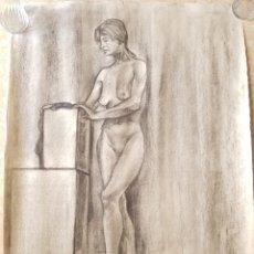 Arte: ARTE. ESCUELA CATALANA DIBUJO AL CARBÓN CARBONCILLO SOBRE PAPEL DESNUDO MUJER. FIRMADO MAS. Lote 171586185
