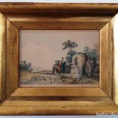 Arte: ALDEANAS EN FUENTE.TINTA Y ACUARELA.FIRMADO JULES ACHILLE NOEL. Lote 171809469