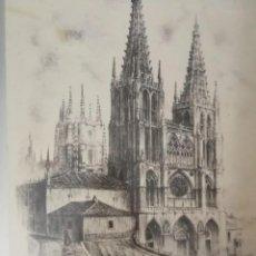 Arte: MANUEL SAEZ (1954) CATEDRAL DE BURGOS, DIBUJO AL CARBÓN AUTÉNTICO ENMARCADO CON MUCHOS DETALLES. Lote 172044674