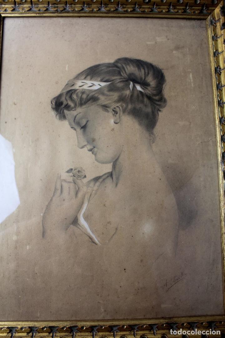Arte: C-972. DIBUJO A CARBONCILLO DE UNA JOVEN. FIRMADO A. OLIVELLA. SIGLO XX. ENMARCADO , CON VIDRIO. - Foto 2 - 172215703