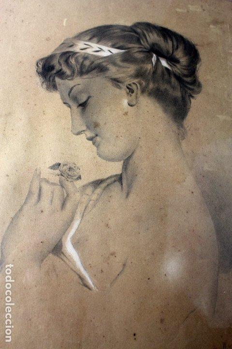 Arte: C-972. DIBUJO A CARBONCILLO DE UNA JOVEN. FIRMADO A. OLIVELLA. SIGLO XX. ENMARCADO , CON VIDRIO. - Foto 4 - 172215703