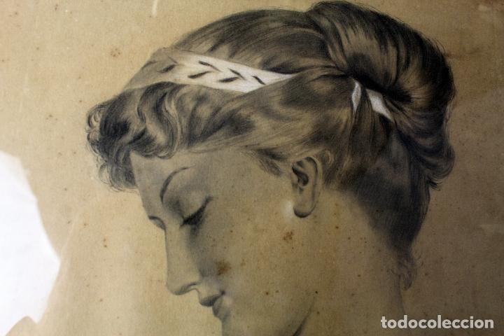 Arte: C-972. DIBUJO A CARBONCILLO DE UNA JOVEN. FIRMADO A. OLIVELLA. SIGLO XX. ENMARCADO , CON VIDRIO. - Foto 5 - 172215703