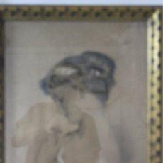 Arte: C-972. DIBUJO A CARBONCILLO DE UNA JOVEN. FIRMADO A. OLIVELLA. SIGLO XX. ENMARCADO , CON VIDRIO.. Lote 172215703