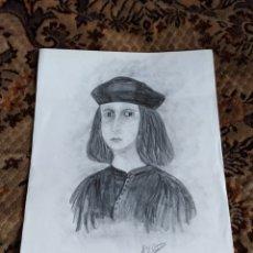 Arte: MUY ANTIGUO Y ORIGINAL A LÁPIZ (CARBONCILLO). RETRATO DE BERENGUER D'ANOIA, INCA. FIRMADO RIUTORT.. Lote 172289733