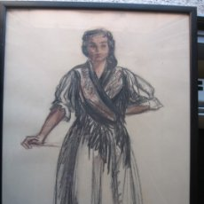 Arte: DIBUJO DE MUJER ENMARCADO POR M.CALVET. Lote 172386169