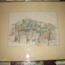 Arte: DIBUJO ENMARCADO EL PUEBLO DE ANA G.PARR. Lote 172392784