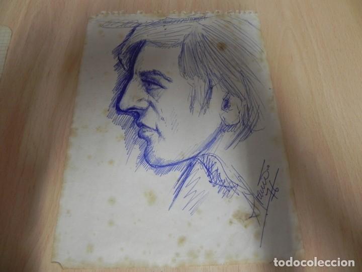 ISIDRO ALVARIÑO - PERFIL DE UN CAMARERO EN EL AÑO 1976 - A BOLIGRAFO - PINTOR LUCENSE (Arte - Dibujos - Contemporáneos siglo XX)