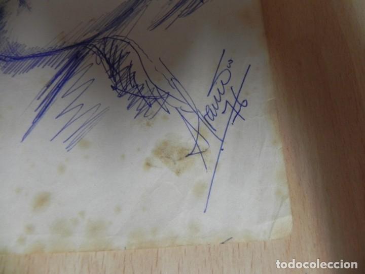Arte: ISIDRO ALVARIÑO - PERFIL DE UN CAMARERO EN EL AÑO 1976 - A BOLIGRAFO - PINTOR LUCENSE - Foto 2 - 172578819