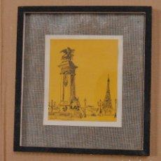 Arte: CUADRO A PLUMILLA DE LÓPEZ MOZOS PINTOR DE MANZANARES CIUDAD REAL // PARÍS. Lote 172589520