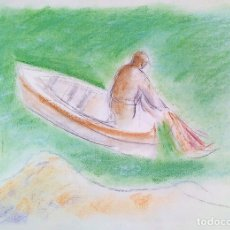 Arte: PESCADOR. PASTEL SOBRE PAPEL. ATRIB. FRANCESC DOMINGO. BRASIL (?). XX. Lote 172634055