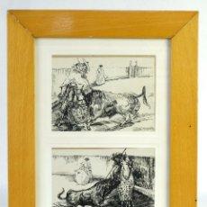 Arte: ALCAIDE MOLINERO DIBUJOS A TINTA SOBRE PAPEL ESCENAS TAURINAS FIRMADOS MEDIADOS SIGLO XX. Lote 172715393