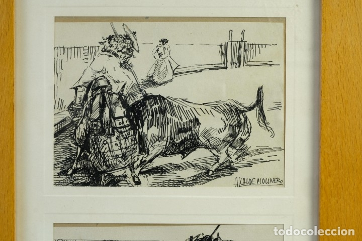 Arte: Alcaide Molinero Dibujos a tinta sobre papel Escenas taurinas firmados mediados siglo XX - Foto 2 - 172715393