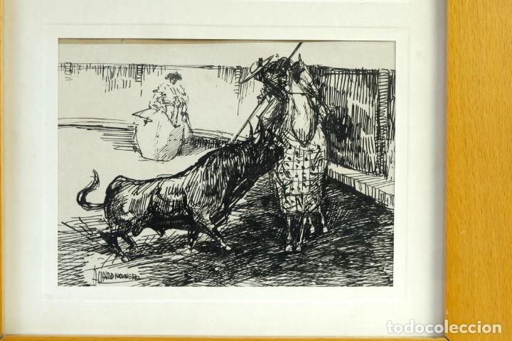 Arte: Alcaide Molinero Dibujos a tinta sobre papel Escenas taurinas firmados mediados siglo XX - Foto 3 - 172715393