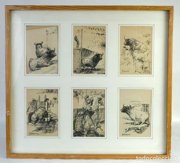 ALCAIDE MOLINERO DIBUJOS A TINTA SOBRE PAPEL ESCENAS TAURINAS FIRMADOS MEDIADOS SIGLO XX (Arte - Dibujos - Contemporáneos siglo XX)