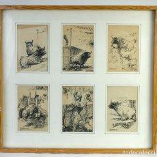 Arte: ALCAIDE MOLINERO DIBUJOS A TINTA SOBRE PAPEL ESCENAS TAURINAS FIRMADOS MEDIADOS SIGLO XX. Lote 172715395
