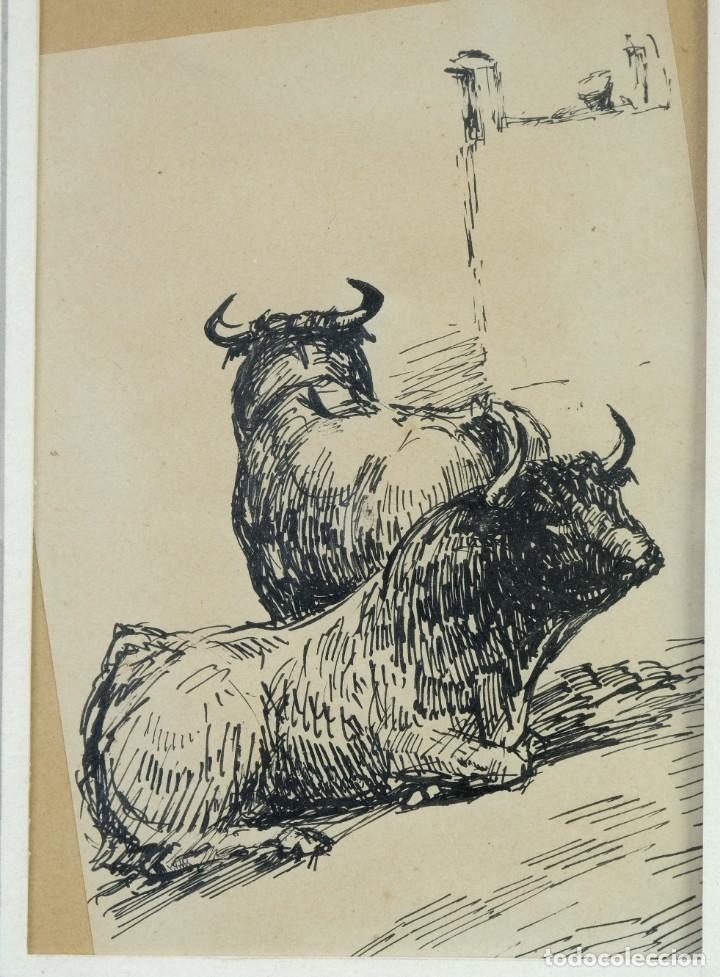 Arte: Alcaide Molinero Dibujos a tinta sobre papel Escenas taurinas firmados mediados siglo XX - Foto 2 - 172715395