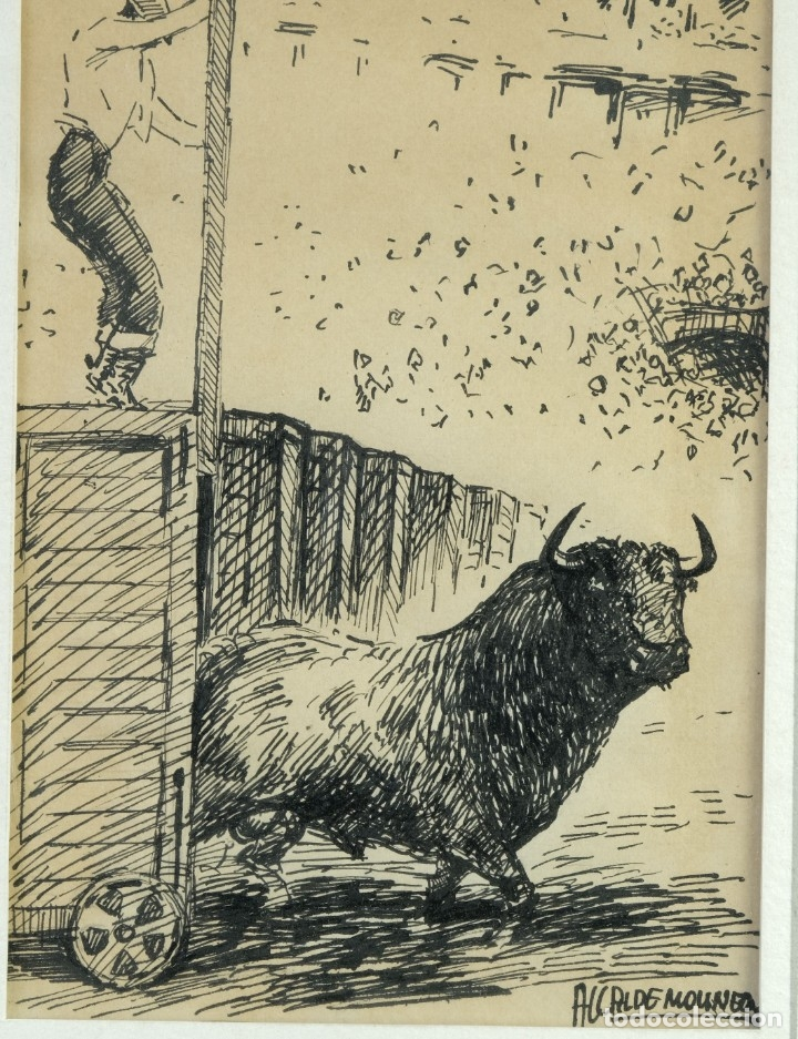 Arte: Alcaide Molinero Dibujos a tinta sobre papel Escenas taurinas firmados mediados siglo XX - Foto 3 - 172715395
