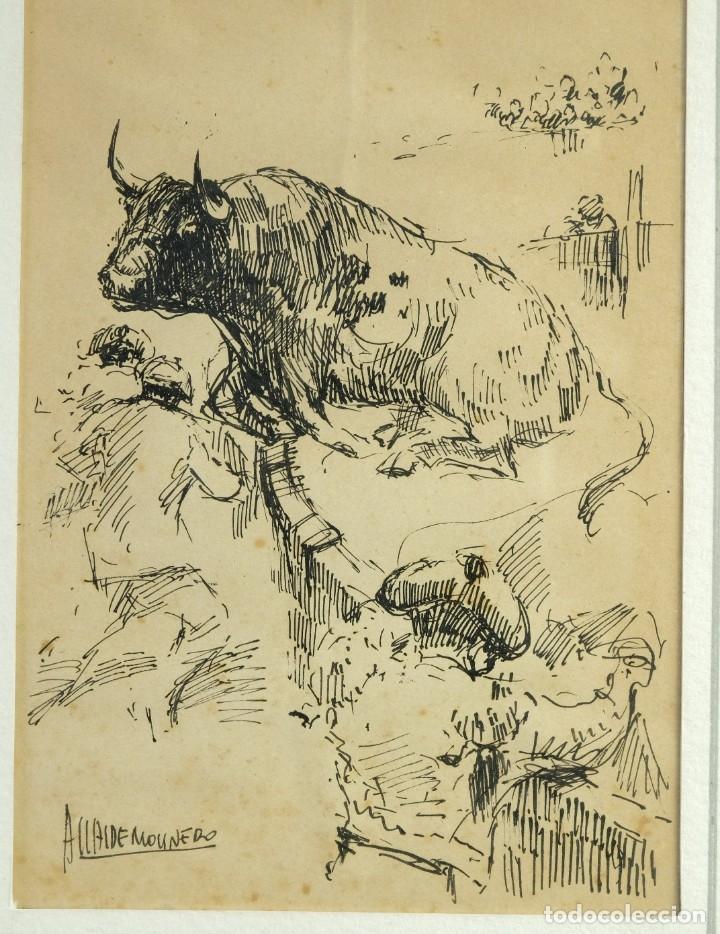 Arte: Alcaide Molinero Dibujos a tinta sobre papel Escenas taurinas firmados mediados siglo XX - Foto 4 - 172715395
