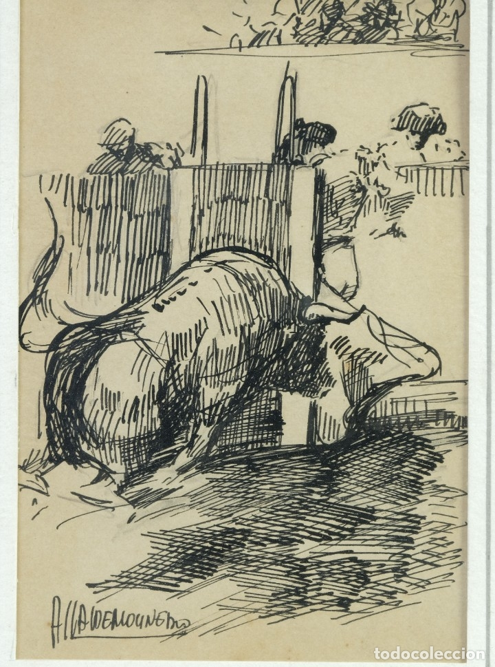 Arte: Alcaide Molinero Dibujos a tinta sobre papel Escenas taurinas firmados mediados siglo XX - Foto 5 - 172715395