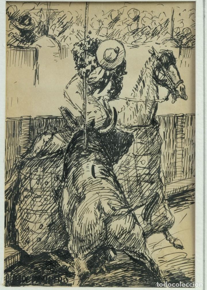 Arte: Alcaide Molinero Dibujos a tinta sobre papel Escenas taurinas firmados mediados siglo XX - Foto 6 - 172715395