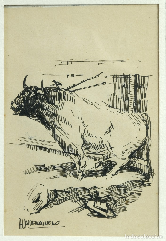 Arte: Alcaide Molinero Dibujos a tinta sobre papel Escenas taurinas firmados mediados siglo XX - Foto 7 - 172715395