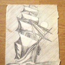 Arte: SILVESTRE RÍOS LÓPEZ. DIBUJO A LÁPIZ. UN VELERO EN EL MAR. 16-11-1947. FIRMADO A MANO.. Lote 172764540