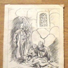 Arte: SILVESTRE RÍOS LÓPEZ. DIBUJO A LÁPIZ. TRES PERSONAJES ÁRABES. 20-8-1947. FIRMADO A MANO.. Lote 172764600