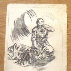 Arte: SILVESTRE RÍOS LÓPEZ. DIBUJO A LÁPIZ. DOS PERSONAJES ÁRABES. 21-8-1947. FIRMADO A MANO. . Lote 172764697