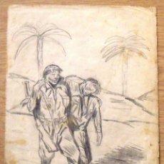 Arte: SILVESTRE RÍOS LÓPEZ. DIBUJO A LÁPIZ. SOLDADO HERIDO EN LA BATALLA. 4-2-1947. FIRMADO A MANO. . Lote 172764820