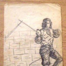 Arte: SILVESTRE RÍOS LÓPEZ. DIBUJO A LÁPIZ. EL ESPADACHÍN CON BOTAS. 2-3-1946. FIRMADO A MANO. . Lote 172764874