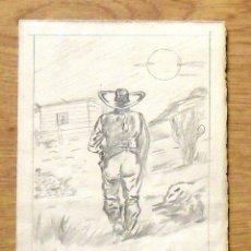 Arte: SILVESTRE RÍOS LÓPEZ. DIBUJO A LÁPIZ. UN COWBOY DE ESPALDAS. BUEN ESTADO. FIRMADO A MANO. . Lote 172765382