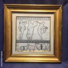Arte: DIBUJO TINTA CLASICO FERIAS FIESTAS JABALI CARNERO TORO BACANAL MUSICOS FIRMA ARGUELLO ROMA 1911. Lote 173007380