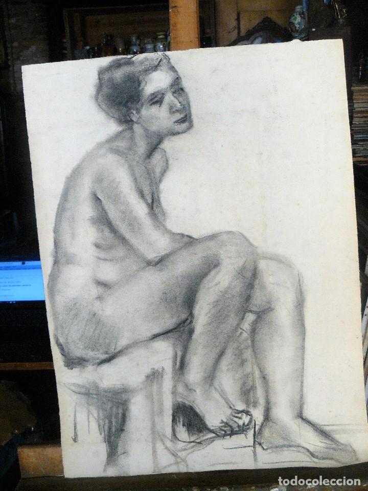 DIBUJO AL CARBONCILLO, DESNUDO FEMENINO, AÑOS 30/40 (Arte - Dibujos - Contemporáneos siglo XX)