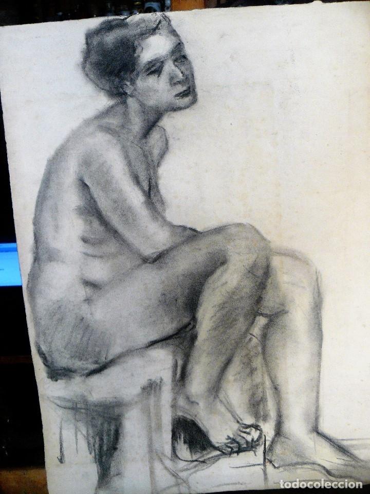 Arte: DIBUJO AL CARBONCILLO, DESNUDO FEMENINO, AÑOS 30/40 - Foto 2 - 173373154
