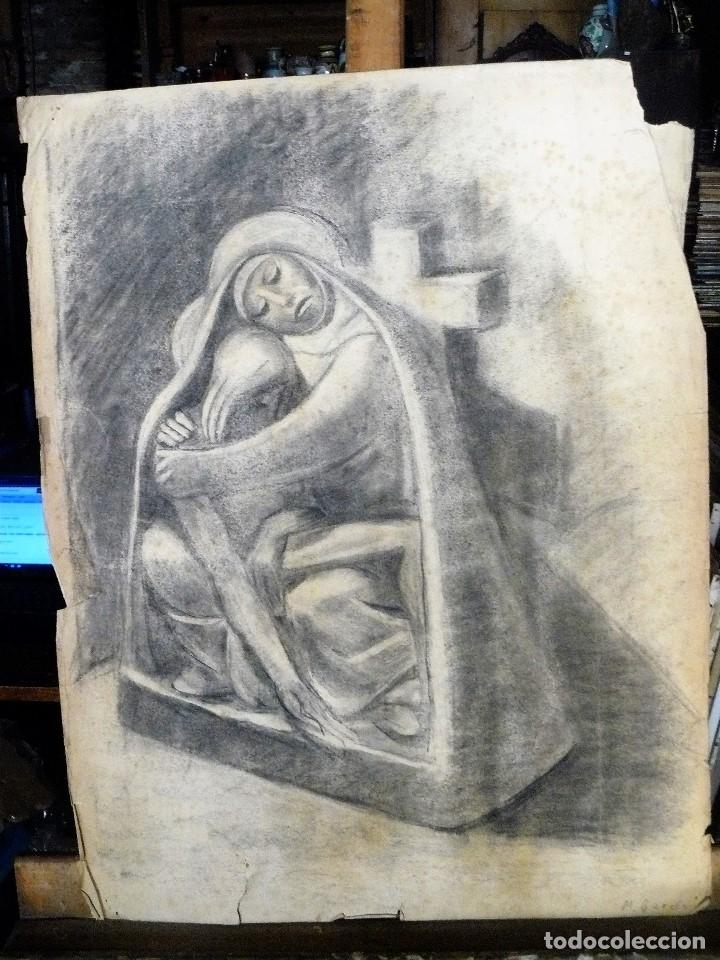 DIBUJO CARBONCILLO - MARIA Y JESUS CRUCIFICADO - FDO M GARCÉS AÑOS 30/40 (Arte - Dibujos - Contemporáneos siglo XX)
