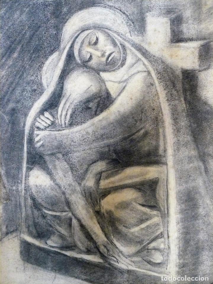 Arte: DIBUJO CARBONCILLO - MARIA Y JESUS CRUCIFICADO - FDO M GARCÉS AÑOS 30/40 - Foto 2 - 173378987