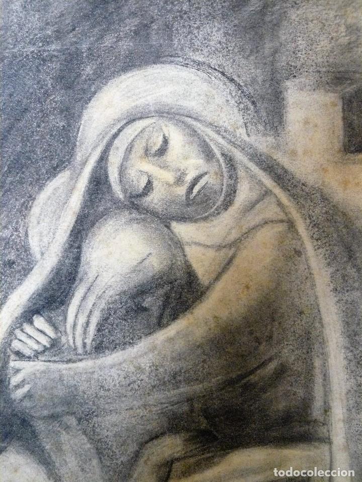Arte: DIBUJO CARBONCILLO - MARIA Y JESUS CRUCIFICADO - FDO M GARCÉS AÑOS 30/40 - Foto 3 - 173378987