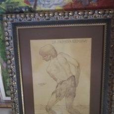 Arte: DIBUJO DEL PINTOR YA FALLECIDO BORGUES SALAS.. CONSIDERADO MAESTROS CANARIOS DE LA HISTOTIS CANARIA. Lote 173484323