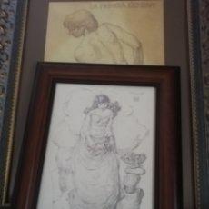 Arte: DIBUJO DEL PINTOR Y ESCULTOR BORGUES SALAS....CONSIDERADO UNOS DE LOS MAESTRO DEL ARTE CANARIO.. Lote 173484324