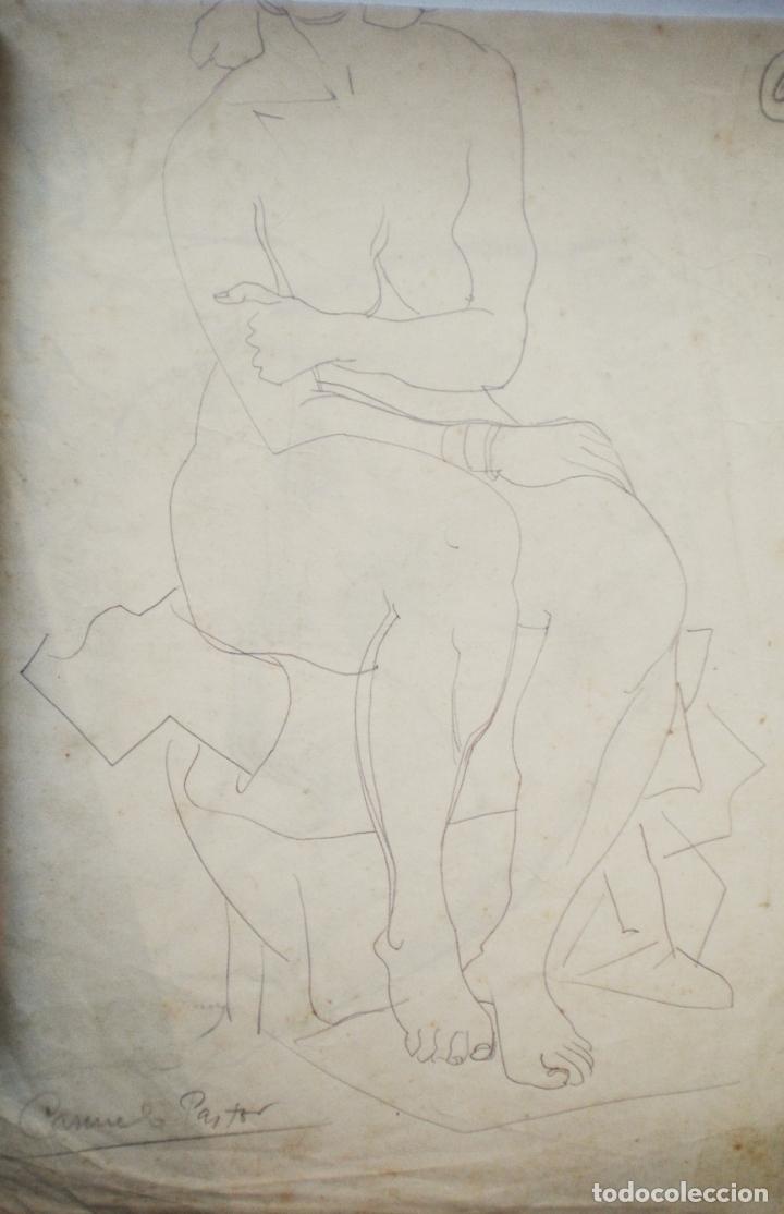 Arte: dibujo a lápiz, dos desnudos femeninos, firmado Carmelo Pastor - Foto 2 - 173655329