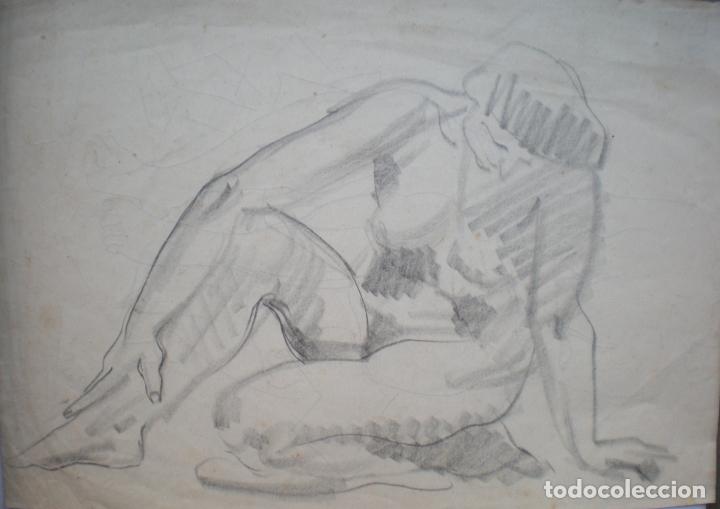 DIBUJO A LÁPIZ, DOS DESNUDOS FEMENINOS, FIRMADO CARMELO PASTOR (Arte - Dibujos - Contemporáneos siglo XX)