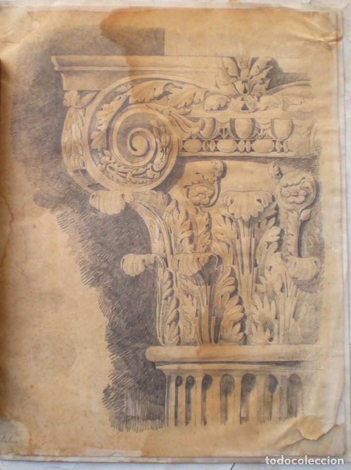 DIBUJO ESTUDIO CAPITEL, FIRMADO J ? MOLINA (Arte - Dibujos - Contemporáneos siglo XX)