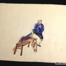 Arte: DIBUJO ACUARELA CON ESCENA CHINA. ORIGINAL. SIGLO XIX. GRAN DETALLE. HECHO SOBRE PAPEL DE SEDA. Lote 173765729